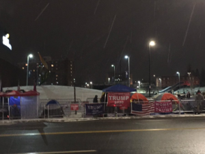 Trump Supporters camping out ahead of Monday's Trump rally in New Hampshire