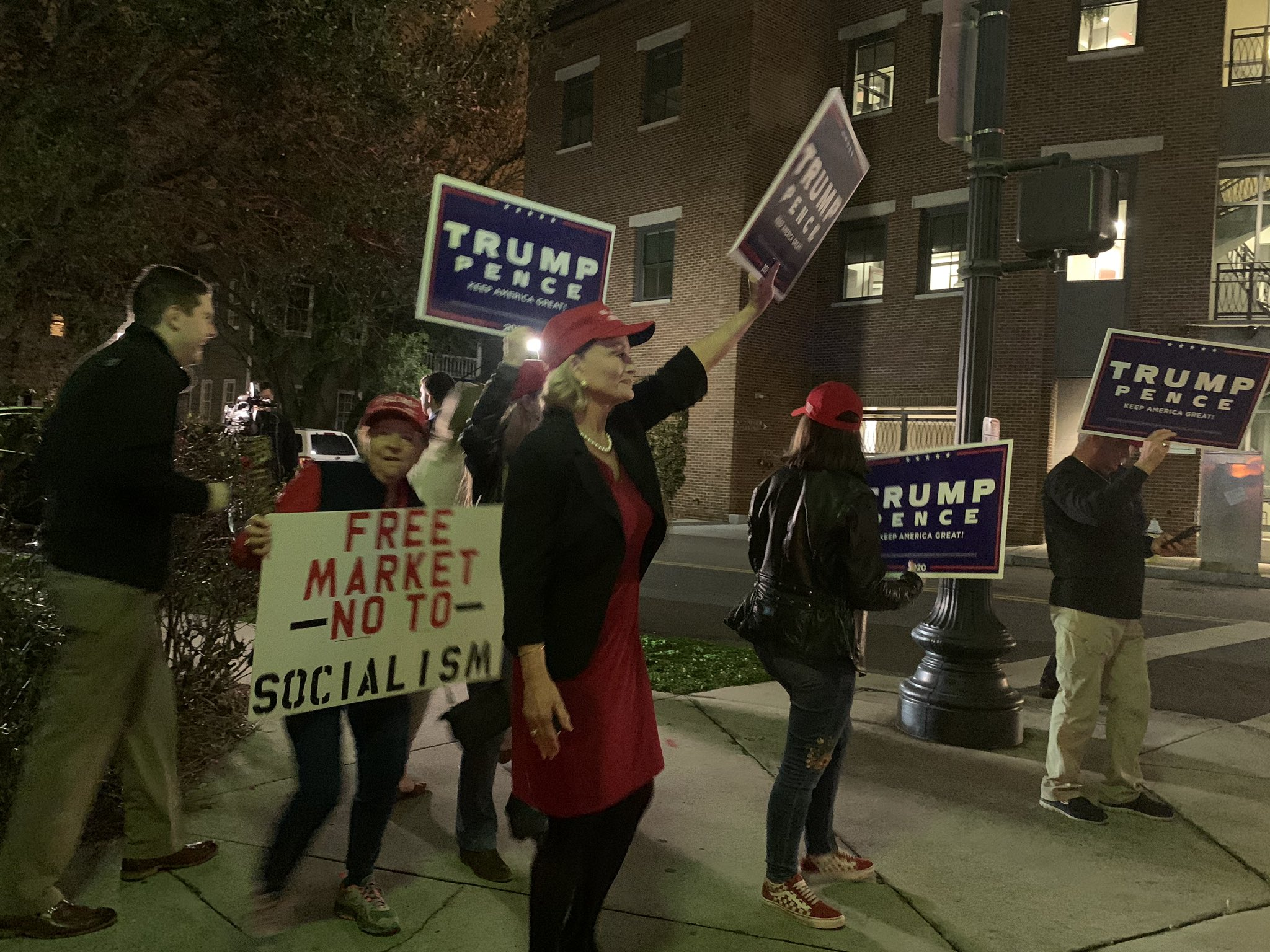 Trump supporters have made an appearance outside the Democratic debate site in Charleston