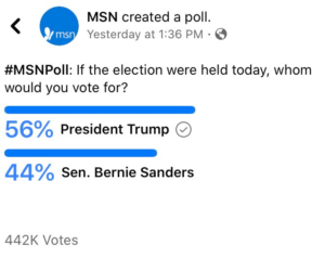 MSN Poll: 56% would vote for President Trump over Bernie Sanders if the election was today.
