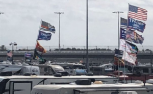 Nascar Trump Supporters fly Trump 2020 flags in Daytona 500 infield