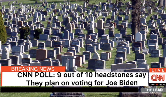 Breaking News: Joe Biden is polling #1 among dead voters CNN poll shows