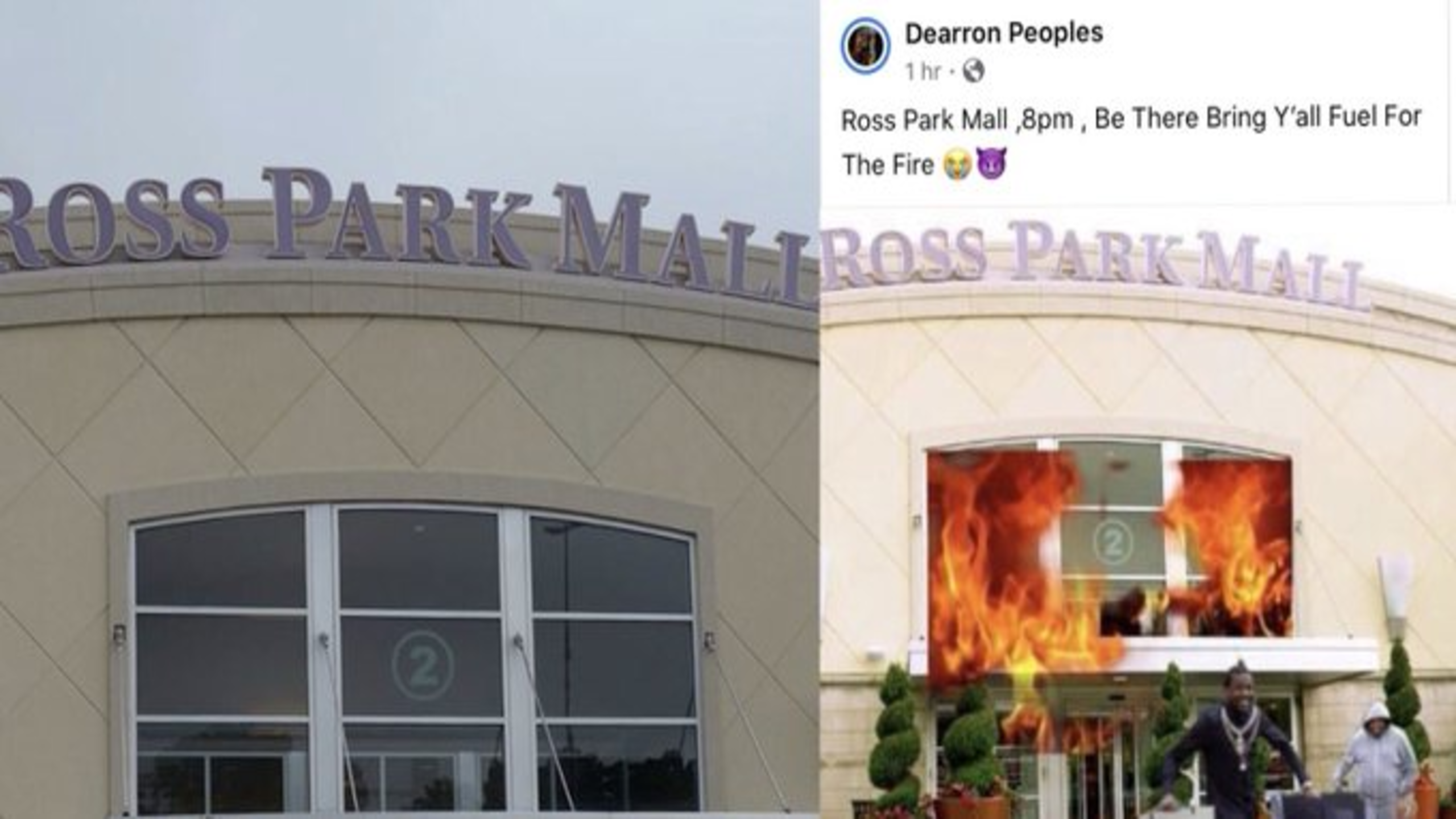 """Ross park mall under high security after Facebook post """"Bring Y'all fuel"""" at """"Ross park mall at 8 pm"""""""