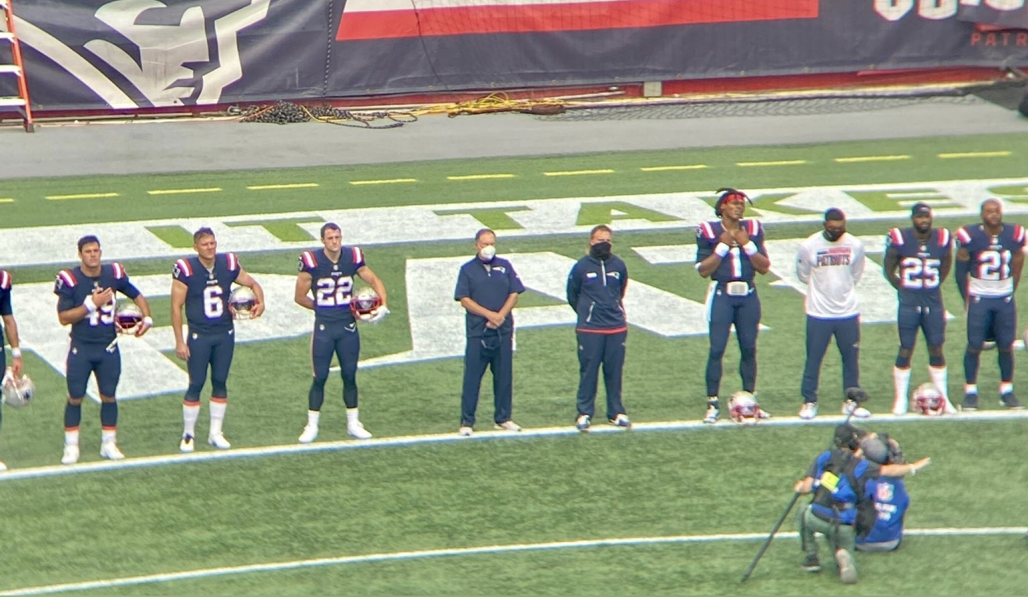 All Patriots stood during the national anthem